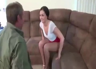 Sweet daughter gives her dad a very good head