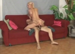 Pigtailed young blonde rides her brother's dick