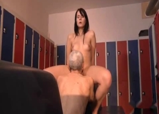 Dirty grandpa eats his granddaughter's shaved cunt