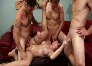 Filthy MILF fucks with her horny as hell sons