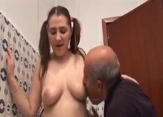 Pigtailed daughter nicely sucks her daddy
