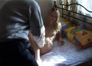 Filthy daddy is playing with his naked daughter