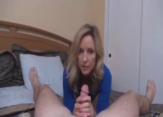 Auntie in blue dress jerks and sucks my prick