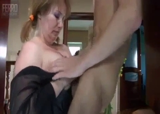 Busty sister in stockings likes incest sex