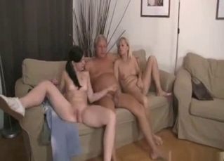 Mom, daughter and grandpa are getting naked