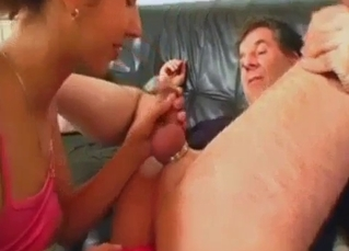 Daughter sucks and stimulates her lovely daddy