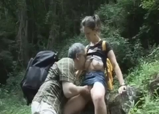 Old man sucks his granddaughter's nipples
