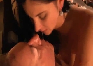 Daddy wears his daughter's shaved pussy