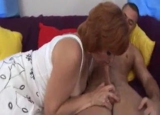 Busty mommy nicely sucks her son
