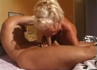 Golden auntie gives her relative a nice blowjob