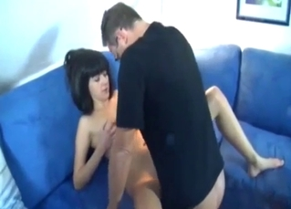 Slim young daughter jumps on her daddy's prick