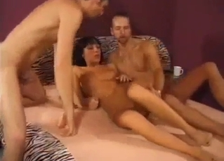 Slutty young sister fucks with two brothers
