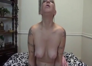 Tattooed blonde hoe enjoys her horny son