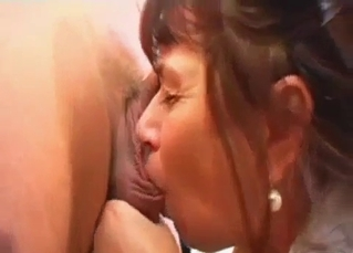 Older woman slowly sucks her son