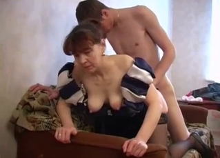 Slutty mommy and horny son have a nice sex