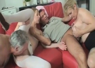 Mommy is sucking her son in front her daughter