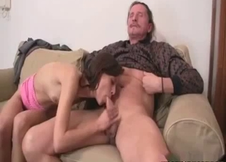Dad eats his daughter's shaved pussy