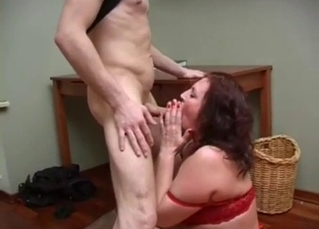 Big-boobed mommy knows how to please her son
