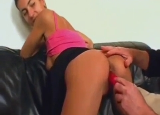Daddy shoves a dildo in his daughter's cunt